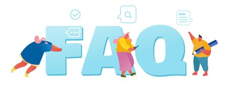 Frequently Asked Questions Concept. People Characters Standing near Faq Typography Ask Questions and Receive Answers Online Support Center Poster Banner Flyer Brochure Cartoon Flat Vector Illustration Ilustracja