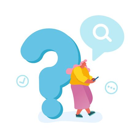 Young Woman Leaning on Huge Question Mark Searching Information in Internet Using Smartphone Isolated on White Background. Frequently Asked Questions, Faq Concept. Cartoon Flat Vector Illustration