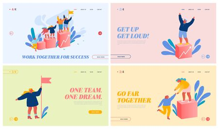 Team Work Challenge, Partnership and Leadership Website Landing Page Set. Businesspeople Pull Teammates to Peak of Success, Financial Rising Diagram Web Page Banner. Cartoon Flat Vector Illustration