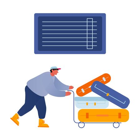 Man Loader Pushing Trolley with Luggage for Loading in Airplane. Transportation of Suitcases and Travel Bags by Attendant at Airport Isolated on White Background. Cartoon Flat Vector Illustration