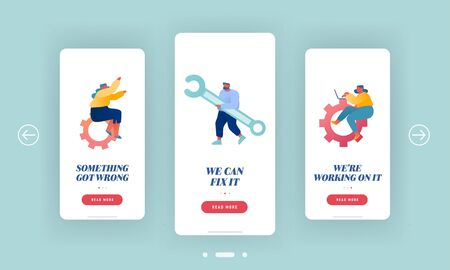 Technical Customers Support Mobile App Page Onboard Screen Set. Woman with Cogwheel Gears, Man Holding Wrench. Technician Service Concept for Website or Web Page, Cartoon Flat Vector Illustration