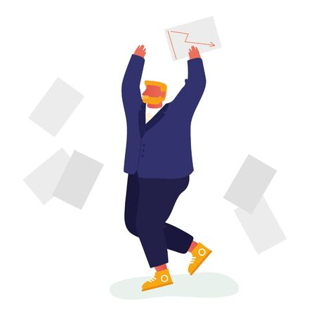 Happy Businessman Throw Out Pile of Office Papers and Documents Quit Paperwork and Daily Routine. Manager Employee Administrative Working Bureaucracy, Big Data. Cartoon Flat Vector Illustration Çizim