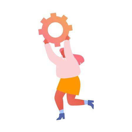 Concepto de desarrollo, optimización y procesos de negocio. Alegre empresaria corriendo con enorme pieza de rueda dentada en manos aisladas sobre fondo blanco. Ilustración de Vector plano de dibujos animados de proceso de trabajo Ilustración de vector