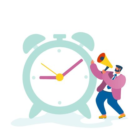 Business Man, Company Boss Character Yelling to Megaphone Standing at Huge Clock Managing Working Process in Office Isolated on White Background. Time Management Cartoon Flat Vector Illustration