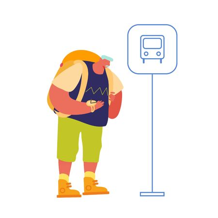 Elderly Man Backpacker Waiting Bus on Commuter Station Enjoying Vacation. Senior Traveler with backpack Hiking Adventure Illustration