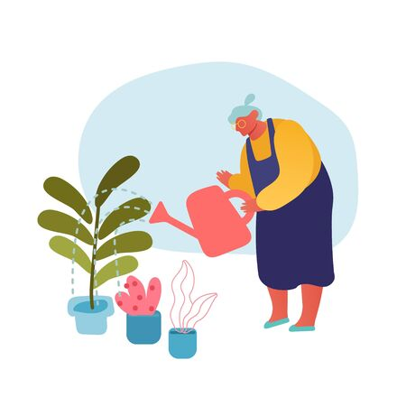 Senior Woman Gardening Hobby. Aged Grey Haired Female Character in Apron Caring of Home Plants in Pots
