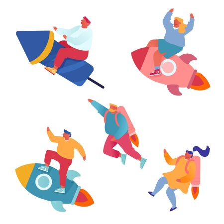 Startup, Creative Business Idea, Corporate Competition Set. Business People Flying with Rocket Engine and Jetpack