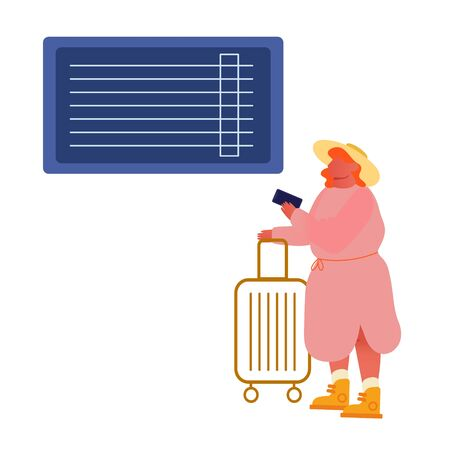 Young Woman Character in Dress and Hat Hold Smartphone and Luggage Waiting Plane Registration or Airplane Boarding in Airport Terminal Area. Summertime Vacation Trip. Cartoon Flat Vector Illustration