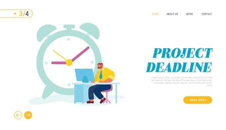 Businessman Working Process Website Landing Page. Character Sitting at Office Desk Working on Computer near Huge Alarm Clock. Man Workaholic Routine Web Page Banner. Cartoon Flat Vector Illustration Vectores