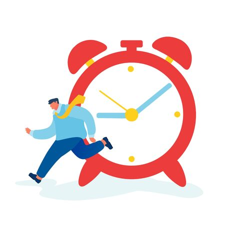 Time as Valuable Life Resource Concept. Hurrying Businessman Running Fast near Huge Alarm Clock Hurry at Work. Time Management, Planning and Scheduling Work, Deadline. Cartoon Flat Vector Illustration