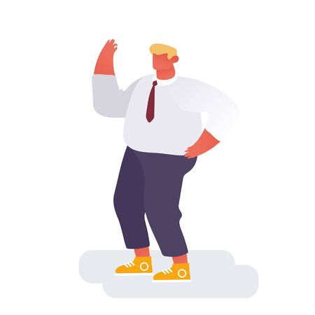 Winner Business Man Celebrating Victory or Successful Deal with Yeah Gesturing Isolated on White Background. Happy Manager, Joyful Office Worker Success Celebration. Cartoon Flat Vector Illustration Çizim