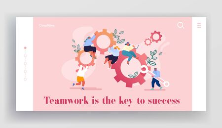 Working Routine Process, Teamwork Website Landing Page. Male and Female Characters Moving Huge Gear Mechanism. Woman Managing Cogwheel Process at Pc Web Page Banner. Cartoon Flat Vector Illustration