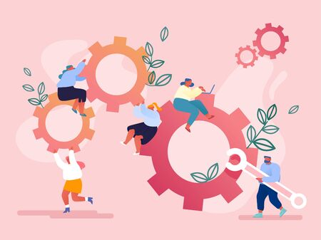 Male and Female Characters Moving Huge Gear Mechanism Using Wrench, Feet and Arms. Woman Managing Cogwheel Process at Pc. Working Routine Process and Teamwork Concept. Cartoon Flat Vector Illustration