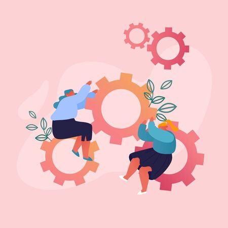 Women Moving Huge Cogwheels Mechanism with Hands, Businesswomen Sitting at Gears Developing New Strategy or Creative Idea. Innovation in Business, Working Process. Cartoon Flat Vector Illustration