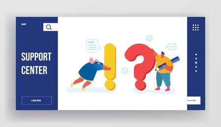People Search and Give Information Website Landing Page. Tiny Characters Look for Solution to Urgent Issues around Huge Exclamation and Question Marks Web Page Banner. Cartoon Flat Vector Illustration
