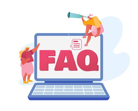 People Asking Questions and Searching Answers around Huge Laptop with Faq Typography on Screen. Puzzled Woman with Spyglass Sitting on Computer Looking Far Away. Cartoon Flat Vector Illustration