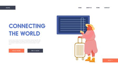 Summertime Vacation Trip Website Landing Page. Young Woman with Luggage Waiting Plane Registration or Airplane Boarding in Airport Terminal Area Web Page Banner. Cartoon Flat Vector Illustration Ilustração