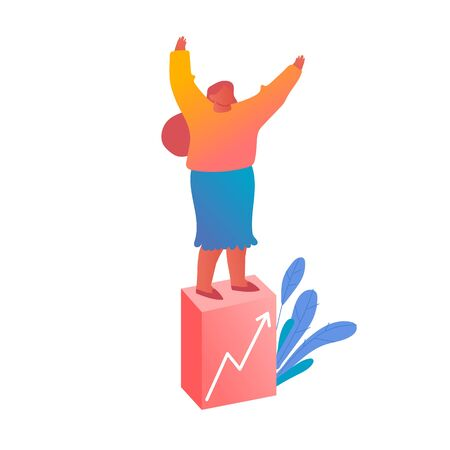 Young Business Woman Stand on Top of Financial Grow Column Chart Rejoice and Waving Hands. Businesswoman Data Analysis, Financial Success, Profit Statistic Diagram Cartoon Flat Vector Illustration