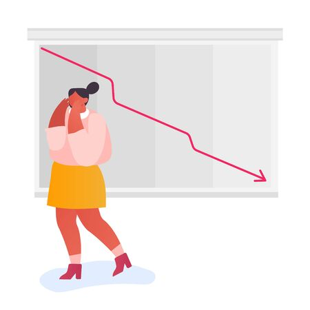 Business Finance Crisis Concept. Stressed Businesswoman Looking at Arrow Diagram Fall Down. Decrease Economy Sale Drop. Investor Bankrupt Lost Money, Cost Reduction. Cartoon Flat Vector Illustration