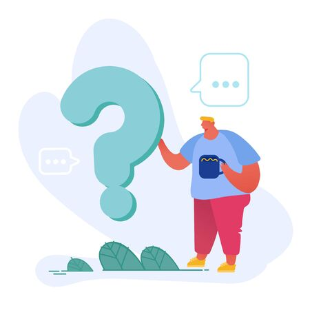 Thoughtful and Doubtful Male Character Stand near Huge Question Mark with Cup of Coffee in Hand Thinking or Searching Problem Solution. Man Using Faq Service Concept. Cartoon Flat Vector Illustration