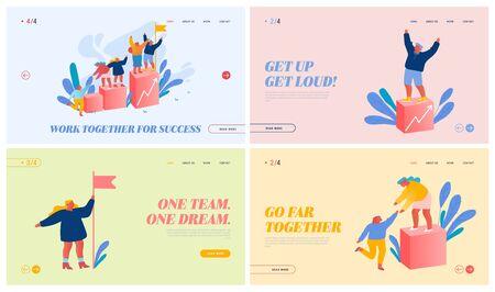 Team Work Challenge, Partnership and Leadership Website Landing Page Set. Businesspeople Pull Teammates to Peak