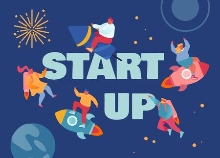 Start Up, Corporate Competition Concept. Business People Flying with Rocket Engine and Jetpack in Open Space. Office Workers Challenge Poster Banner Flyer Brochure. Cartoon Flat Vector Illustration