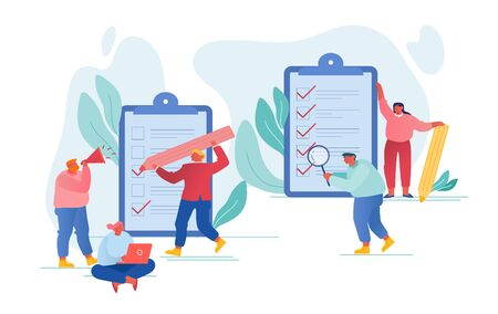 Scheduling Planning Inspiration and Creative Process Concept. Business People Stand at Huge Clipboard with Checklist Filling Check Boxes on Documents with Marks by Pen Cartoon Flat Vector Illustration