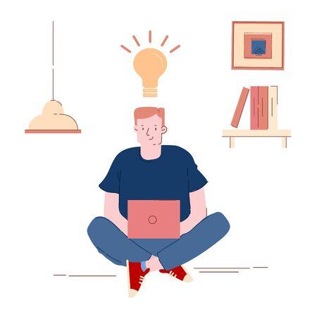 Man Programmer, Designer or Coder Working on Computer with Glowing Light Bulb above Head. Office Worker or Freelancer Having Creative Idea, Testing or Coding Program. Cartoon Flat Vector Illustration Vetores