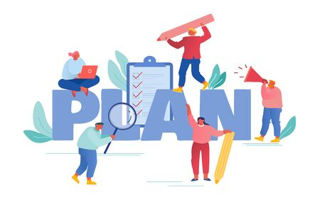 Plan Concept. Businesspeople Holding Office Stationery Magnifying Glass, Pencil and Loudspeaker, Filling Checklist Put Marks on Paper Poster Banner Flyer Brochure. Cartoon Flat Vector Illustration