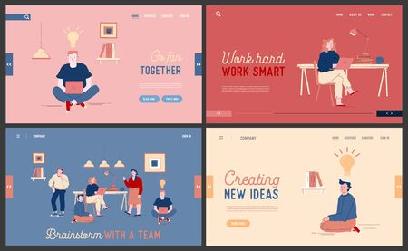 Team Work Project Development, Creative Idea Brainstorm Website Landing Page Set. Businesspeople Cooperate for Task Solutions with Glowing Light Bulbs Web Page Banner. Cartoon Flat Vector Illustration