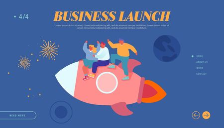 Office Workers Career Boost, Successful Start Up and Leadership Website Landing Page. Cheerful Business Men and Women Flying in Space Riding Rocket Web Page Banner. Cartoon Flat Vector Illustration