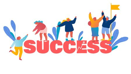 Success Teamwork and Leadership Concept. Business Team Climbing Up on Top with Flag. Businesspeople Pull Teammates to Peak of Success Poster Banner Flyer Brochure. Cartoon Flat Vector Illustration