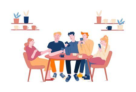 Réunion d'amis au café ou au bar. Compagnie de jeunes ayant une pause-café dans un restaurant moderne communiquant, discutant, passant du temps libre ensemble le week-end. Illustration vectorielle plane de dessin animé
