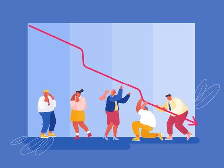 Economic Recession, Sale Drop and Crisis Concept. Sad Business People around Decline Red Arrow Chart  イラスト・ベクター素材