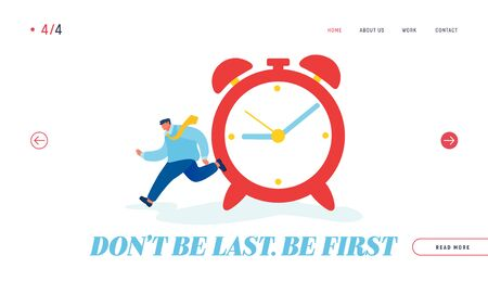 Time Resource Website Landing Page. Businessman Running near Huge Alarm Clock Hurry at Work. Time Management Ilustração
