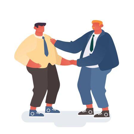 Le directeur félicite le travailleur pour son travail réussi. Confiant Businessman Company Boss Shaking Hand à l'employé de bureau isolé sur fond blanc. Illustration vectorielle plane de dessin animé de réussite commerciale