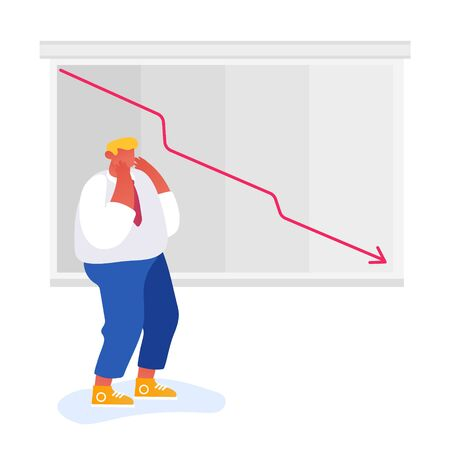 Fall and Depreciation Concept. Depressed Business Man Looking at Falling Down Red Arrow. Investor Lose Money on Stock Market. Financial Crisis, Corporate Sale Drop. Cartoon Flat Vector Illustration