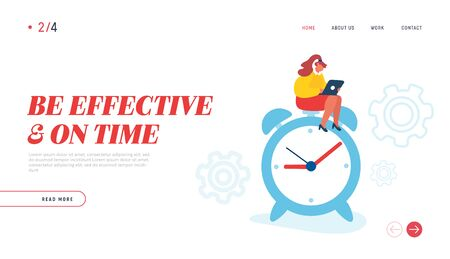 Business Working Process Website Landing Page. Businesswoman Sitting on Huge Alarm Clock with Laptop. Time Management Procrastination Productivity Web Page Banner. Cartoon Flat Vector Illustration