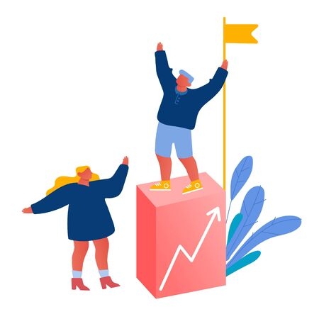 Team Work, Challenge Partnership and Leadership Concept. Business People Climbing Up Financial Graph and Chart Stairs Set Up Flag on Top. Career Ladder with Characters Cartoon Flat Vector Illustration