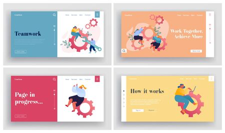Teamwork Cooperation, Support Website Landing Page Set. Businesspeople Spinning Cogwheel Gears. Man Technician Support Hold Wrench Business Development Web Page Banner Cartoon Flat Vector Illustration Stock Illustratie