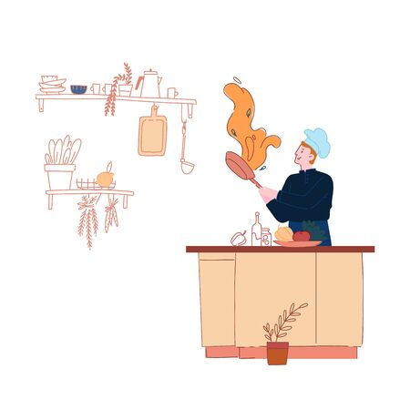 Man in Chef Toque and Apron Cooking on Pan with Fire Isolated on White Background, Restaurant Staff Character, Social Media Blogger Broadcasting Show. Healthy Eco Food Cartoon Flat Vector Illustration
