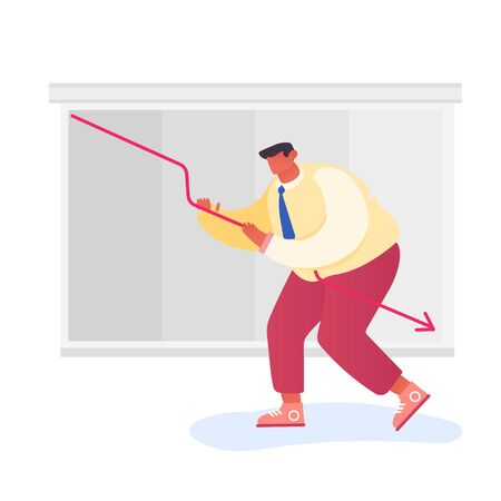 Investor Lose Money on Stock Market. Desperate Businessman Trying to Rise Up Decline Red Arrow on Chart Board. Anti-crisis Measures, Risk Management, Investment Fail Cartoon Flat Vector Illustration Stock Illustratie