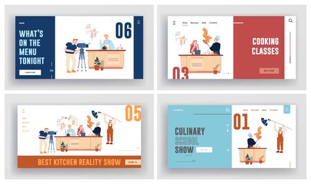 Culinary Show, Master Class Recording in Studio Website Landing Page Set. People in Chef Uniform Performing to Cook Different Dishes on Video Camera Web Page Banner. Cartoon Flat Vector Illustration