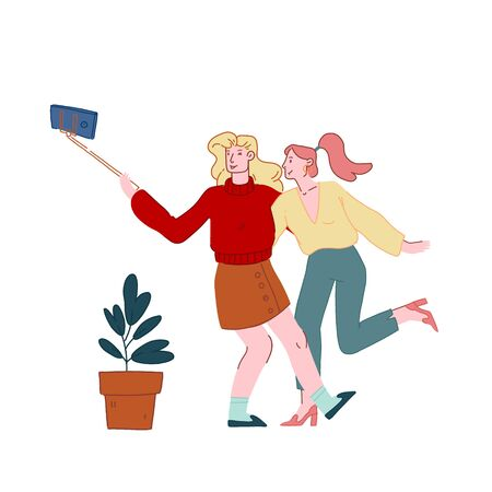 Young Girls Relaxing, Making Selfie on Smartphone for Post in Internet Networks. Women Visiting Cafe, Female Characters in Recreational Place, Girlfriends Meeting. Cartoon Flat Vector Illustration