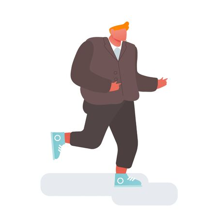 Contract Signing, Triumph Concept. Young Business Man Wearing Formal Suit and Sneakers Happily Run on White Background. Goal Achievement or Successful Business Deal Cartoon Flat Vector Illustration