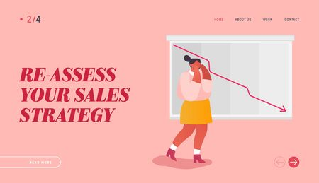 Failed Sale Strategy Website Landing Page. Stressed Businesswoman Looking at Arrow Diagram Fall Down. Decrease Economy Sale Drop, Cost Reduction Web Page Banner. Cartoon Flat Vector Illustration