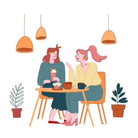 Young Pretty Girls Sitting in Cafe Chatting, Telling Gossip and News to Each Other, Girlfriends Meeting and Relaxed Spare Time. Students or Office Workers Coffee Break Cartoon Flat Vector Illustration