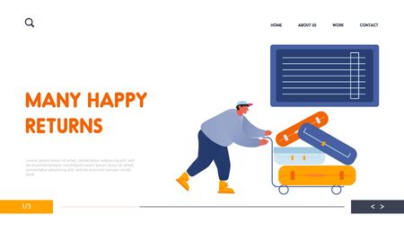 Man Loader Pushing Trolley with Luggage for Loading in Airplane Website Landing Page. Suitcases and Travel Bags Transportation by Attendant at Airport Web Page Banner. Cartoon Flat Vector Illustration