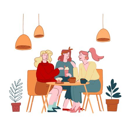 Girls Friends Company Female Characters Sitting in Cafe Chatting and Drinking Coffee with Pastry and Bakery. Students or Office Workers Lunch Break, Weekend Recreation Cartoon Flat Vector Illustration