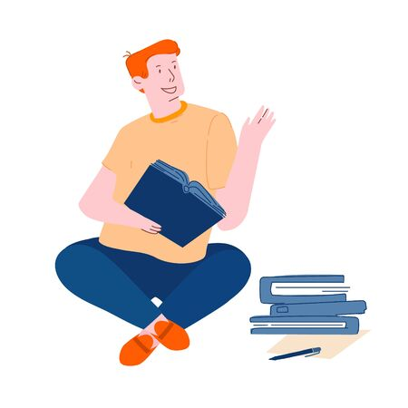 Young Man Student Sitting with Books Learning Homework or Prepare to Exams in University or College Isolated on White Background. Education Gaining Knowledge Concept Cartoon Flat Vector Illustration